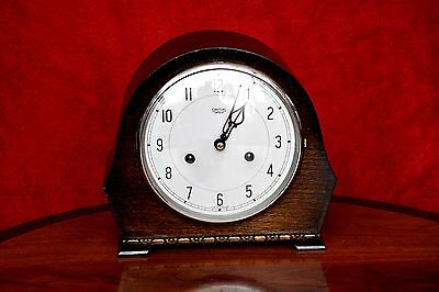 Vintage Art Deco 'Smiths Enfield' 8-Day Oak Mantel Clock with Chimes