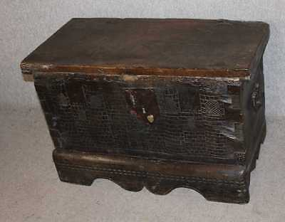 Carved Breton Oak 1850's coffer with nice carving and original Handles