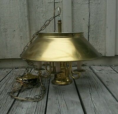 Hinkley Brass Bouillotte Chandelier Ceiling Fixture Lamp 6 Arm 7 Light