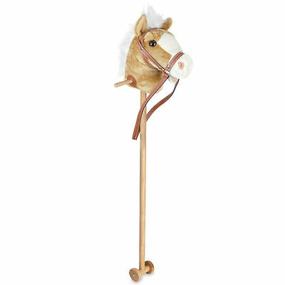 Tradidtional Hobby Horse 100Cm Beige Light Brown Sounds - Great Pretend Play New