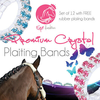 12 Premium Crystal Gem Horse Plaiting Dressage Bands -Various colours RRP £25.99