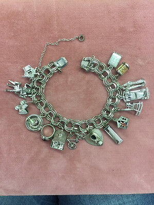 Vintage Sterling Silver Charm Bracelet Loaded with Charms