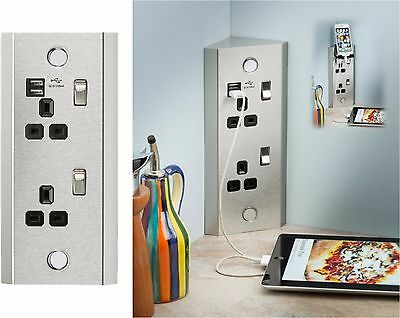Knightsbridge 13A 2 Gang Vertical Corner Mount Socket with Dual USB Charger 2.1A