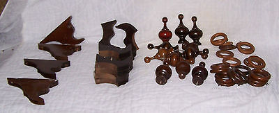 Victorian Aesthetic Wood Drapery Accessories, Brackets 16 / Finials 11/ Rings 20