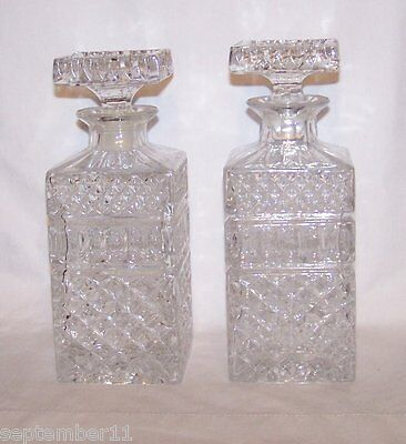 Antique Crystal Bohemian Glass Liquor / Whiskey Decanters Heavy Glass Stoppers