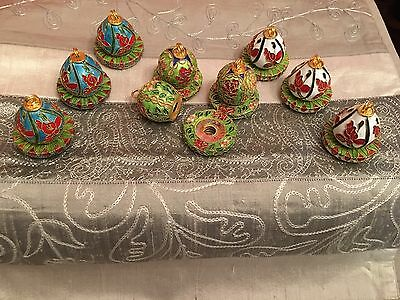Bombay Company Lot Of 8 (+1 Brkn) Vintage Colored Metal Place Card Name Holders