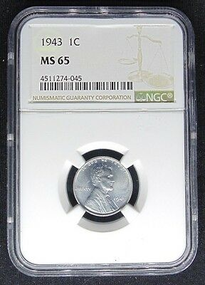 1943 Lincoln Wheat Steel Cent Penny Ngc Certified Ms 65