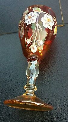 Antique Hand Painted ENAMELED FLORAL VictorianWine Glass