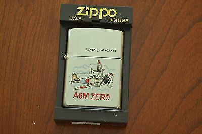 ZIPPO Lighter, Vintage Aircraft, A6M Zero, Polished Chrome, Sealed, M483