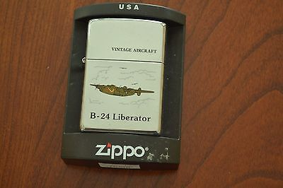 ZIPPO Lighter, Vintage Aircraft, B-24 Liberator, Polished Chrome, Sealed, M482