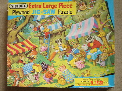 Vintage Victory MARKET DAY large piece wooden jigsaw puzzle complete