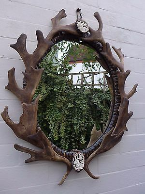 Mirror with fallow deer antlers, hand carved crowns, unique idea for the gift