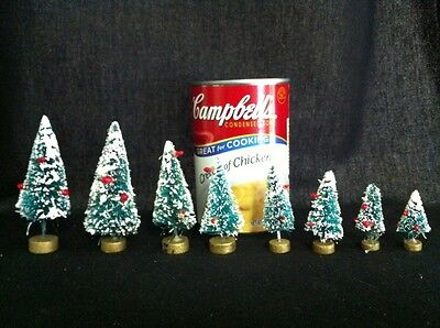 """8 Vintage 1""""-3"""" Bottle Brush Trees Red Berries Gold Base Midwest Taiwan"""