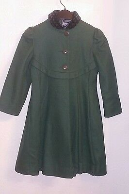 Vintage Rothschild Coat Holiday Special Occasion  Green Girl's Size 8