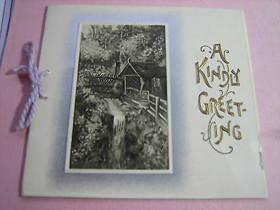 Vtg. Victorian Die Cut  ENGLISH COTTAGE Christmas Card w/ Cording Used