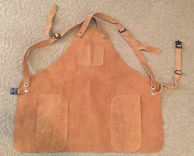 Suede Leather Bib Apron Blacksmith Welding Mechanic Shop Woodworking 3 Pockets