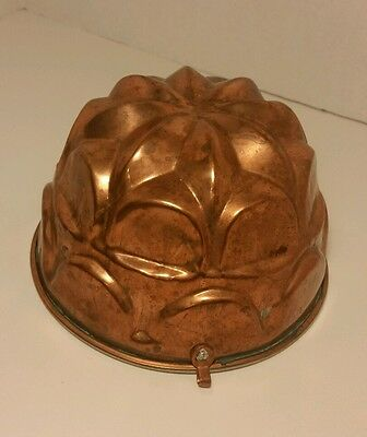 "Vintage 5.75"" Copper Jelly Pudding Mold Mould Tin Lining"