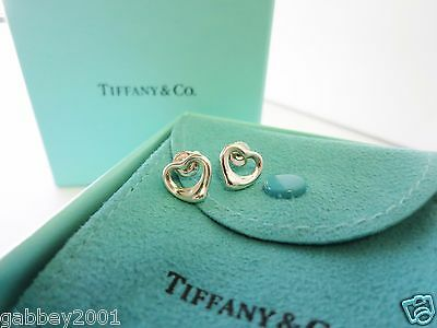 Tiffany & Co. Sterling Silver Elsa Peretti Open Heart Stud Earrings w/ Packaging