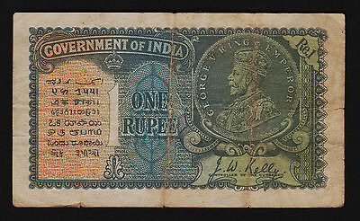 India 1935 One Rupee Banknote P-14a with portrait watermark signature J W Kelly
