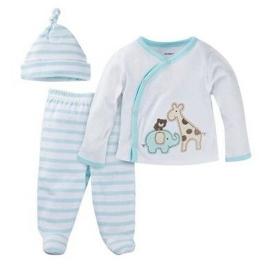 Gerber 3-Piece Baby Boy or Girl Unisex Light Aqua Layette Set Size 0-3 Months