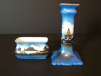 Vintage Vanity Candlestick And Dish Chinese  Blue Black