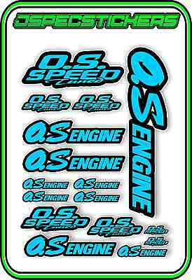 O.s Engines Rc Sticker Sheet Remote Control Plane Car Os Speed Tuned Blue Black