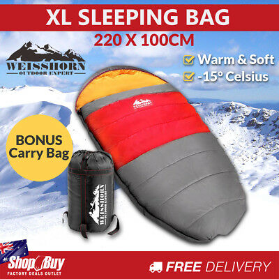 Outdoor Camping Sleeping Bag Winter Pebble Thermal Tent Hiking King Red -15ºC