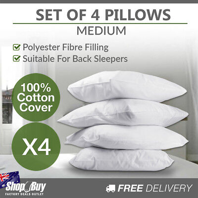 New 4 x Medium Bed Pillows Set Cotton Cover Family Hotel Air BNB 73 x 48cm