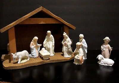 Lefton China Nativity 12 Piece Vintage Hand Painted Bisque and Creche 1983 03224
