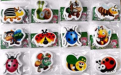 Bulk Lot x 10 Mixed Kids Insect Bugs Rubber Erasers Party Favors Novelty NEW