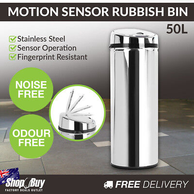 50L Motion Sensor Stainless Steel Rubbish Bin Automatic Kitchen Waste Trash Can