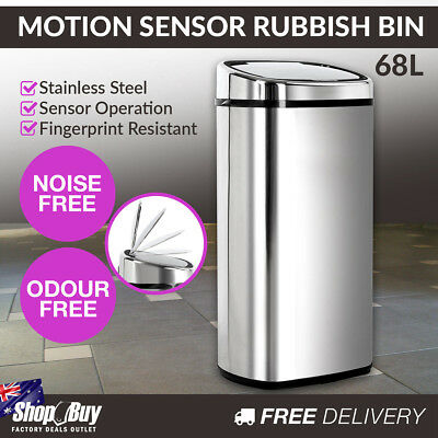 68L Motion Sensor Stainless Steel Rubbish Bin Automatic Kitchen Waste Trash Can