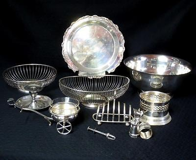 Vintage LOT Silver Plate Quad EPNS Condiment Cart - Toast Holder Gorham Rogers +