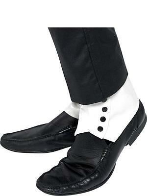 ADULT WHITE LEATHER LOOK SPATS WITH BLACK BUTTONS 1920's GANGSTER SHOE COVERS