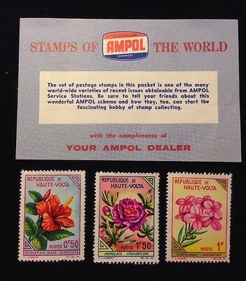Vintage AMPOL STAMPS OF THE WORLD 1963 HAUTE (UPPER) VOLTA African Flowers