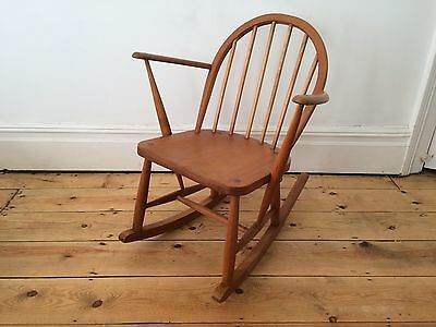 Vintage Mid Century Ercol Utility Small Rocking Chair 1950s