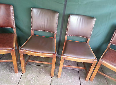 Genuine Antique Set of Four 1920's Oak Studded Leather Lamerton's Dining Chairs