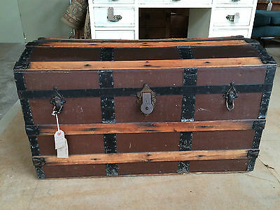 Antique Wooden and Canvas Trunk
