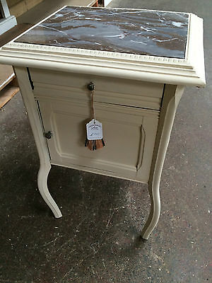 Small Painted Bedside/ Occassional Cabinet with Marble Top