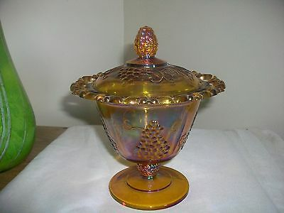Indiana Carnival Irediscent Glass Marigold Compote/candy Dish