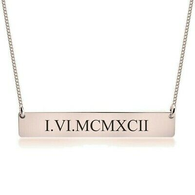 Rose Gold Plated Roman Numeral Bar Necklace - Any Date Nameplate - oNecklace ®