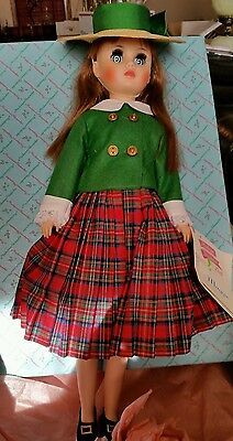 "VINTAGE 1966 Madame Alexander 17"" MAGGIE Doll #1720 plaid with hand tag mint"