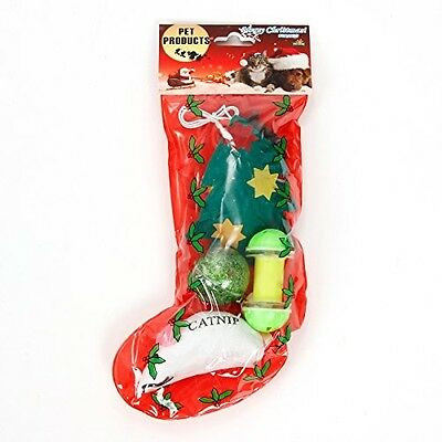 PAWZ Road Pet Cat Happy Christmas Gift Set 6 Toys 1 Package Sock Shape Cat