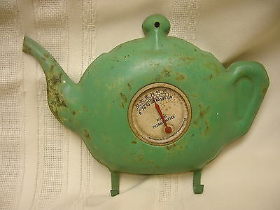 Vintage Room Thermometer Teapot Shape with Hooks Metal Tel-Tru Co. Rochester NY
