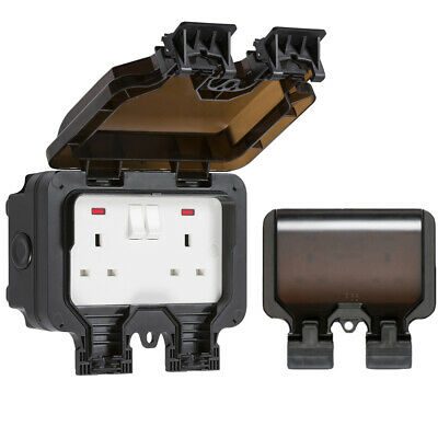 Knightsbridge 2 Gang 13 Amp Double Outdoor Electrical Plug Socket IP66