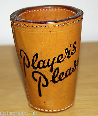 Vintage PLAYERS PLEASE Cigarette Advertising Leather Dice Shaker