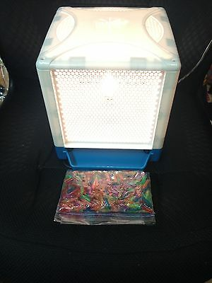 LITE-BRITE CUBE with Blue Trays & Colored Pegs 4 Sided Hasbro 2001 WORKS