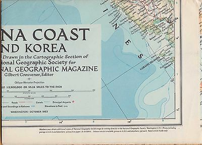 NATIONAL GEOGRAPHIC MAP ~ CHINA COAST & KOREA ~ Oct. 1953 ~ VERY NICE CONDITION