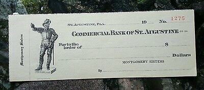 Uncirculated Early 1900s Commercial Bank of St. Augustine Blank Check