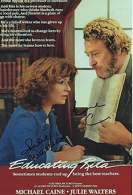 EDUCATING RITA personally DOUBLE signed 12x8 - MICHAEL CAINE, JULIE WALTERS